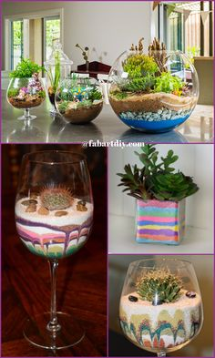DIY Colorful Sand Terrarium Tutorials DIY Colorful Sand Terrarium Tutorials: ideas to make sand terrariums which are easy and inexpensive to make to bring fairy gardens into your house! Plantes Feng Shui, Bartagamen Terrarium, Colored Sand, House Plants Decor, Sand Art, Homemade Crafts, Planting Succulents, Decoration, Colorful Crafts