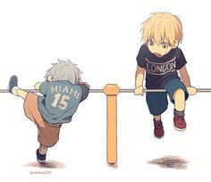 Kuroko no Basket. Young kuroko and Kise playing on bars. Or attempting too. Midorima Shintarou, Kise Ryouta, Ryota Kise, Kuroo, Kuroko No Basket, Blade Runner, Anime Guys, Manga Anime, Kiseki No Sedai