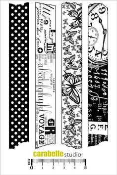 Carabelle Cling Stamp, Washi TapeRepositionable stamps for using along with your methacrylate base and stamp with your favourite inks . This stamp is especially desi Tampon Scrapbooking, Scrapbook Paper Crafts, Scrapbook Albums, Tapas, Black And White Stickers, Washi Tape Planner, Mandala Art Lesson, Journal Stickers, Digi Stamps