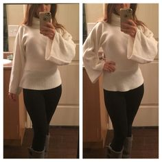 Ivory Wool Turtleneck Sweater Good condition ivory sweater. Loose flutter sleeves. Size medium but fits like a small. From the bottom is 22 inches. One day shipping. No trades and no holds. 20% off bundles. Sweaters Cowl & Turtlenecks