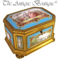 Large Rare Antique French Gilt Bronze Jewelry Casket Box, NINE Jeweled Kiln-Fired Enamel on Copper Plaques