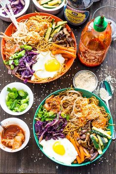 These Bang Bang Shrimp Bibimbap Noodle Bowls are filled with sweet, crunchy chili-garlic shrimp, a fried egg, kimchi and lots of sesame flavoured toppings!