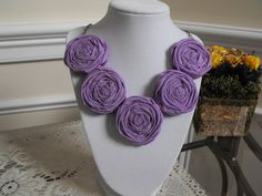 Lavender Rosette Necklace Fabric Roses by JessieKateDesigns, $25.00