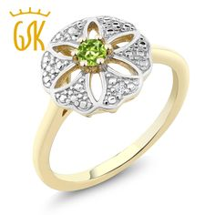 Women Natural 0.12 cttw Green Peridot  18K Yellow Gold Plated Pure 925 Sterling Silver Hollow Flower Ring Gem Stone King