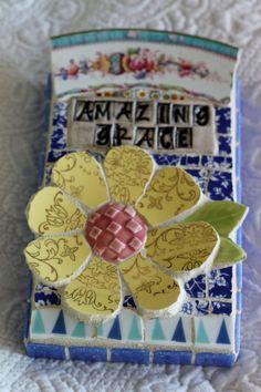 Amazing Grace vintage china mosaic collage by Lisabetzmosaicart