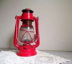 Kerosene Lantern Red Vintage Camping Light Cabin Decor Rustic...kid's camping theme bedroom