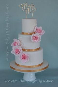 'Becky' ~ Beautiful 3 tier cake with pretty pink roses and blossoms 3 Tier Cake, Tiered Cakes, Small Intimate Wedding, Dream Cake, Wedding Gallery, Cake Designs, Blossoms, Pink Roses, Pretty In Pink