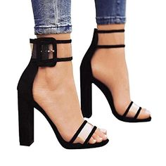 YingNeng Women Lucite Clear Strappy Chunky High Heel Sand... Chaussure  Tendance, Sandales 61d52bbae642