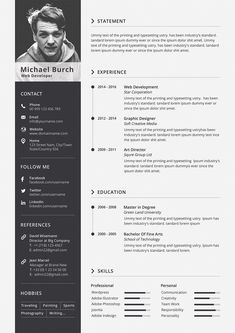 Minimal Resume/CV template to help you land that great job. Easily edit the typography, wording, colors and layout. Interior Design Resume, Graphic Design Resume, Cv Curriculum Vitae, Curriculum Design, Cv Resume Template, Resume Design Template, Free Cv Template Word, Portfolio Resume, Portfolio Design