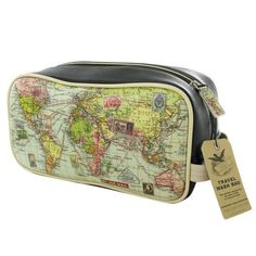This Map Wash Bag made from faux leather is the perfect companion for short trips or long journeys.