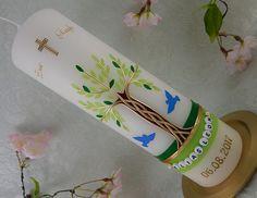 Taufkerzen - Taufkerze Lebensbaum - ein Designerstück von Lenz-Kerzen bei DaWanda Planter Pots, Etsy, Easter Activities, Deco