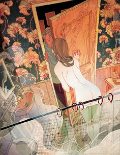 "Full page interior illustration for the New Yorker Magazine, by Victo Ngai. ""Sweet Dreams"" is a short romantic fiction about a young couple living in Switzerland by Peter Stamm."