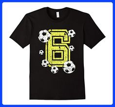 Mens 6th Birthday Soccer Fan Gift T-Shirt for Boys or Girls XL Black
