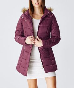 Love this Burgundy Faux Fur-Hood Double-Closure Long Puffer Jacket on #zulily! #zulilyfinds