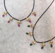 Jewelry Design Earrings, Bead Jewellery, Latest Jewellery, Necklace Designs, Beaded Jewelry, Beaded Necklace, Indian Jewellery Design, Indian Jewelry, Black Diamond Chain