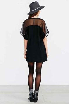 Silence + Noise Illusion Sheer-Sleeve Tee Dress - Urban Outfitters