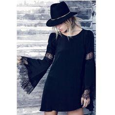 Amber Lace Trim Dress   Black – Boho Buys