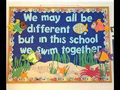 "Ocean bulletin board - so cute! Maybe with ""Rainbow Fish"" lesson? New Classroom, Preschool Classroom, Classroom Themes, Preschool Activities, Kindergarten, Ocean Themed Classroom, Toddler Classroom Decorations, Turtle Classroom, Fish Bulletin Boards"