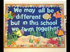 """Ocean bulletin board - so cute! """"Nosotros somos diferentes, pero en este clase, nadamos juntos"""""""