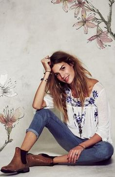 Free People Embroidered Peasant Top & Jeans - looooove this top!!