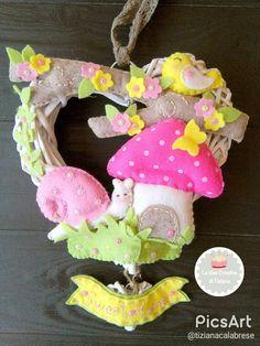 Fuori porta creato a mano in pannolenci su un cuore di rattan intrecciato : Accessori casa di le-idee-creative-di-tiziana