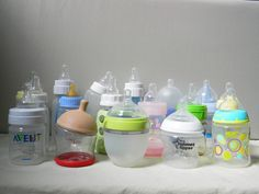 A comparison of baby bottles - an important decision for working parents of a breastfed baby - BabyGearLab's baby bottle finalists lined up for detailed hands-on testing!