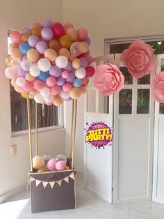 Baby shower hot air balloons sculpture, hot air balloons Party decorations, beautiful Party decorations, decoración con globos y tienda para fiestas Playa del Carmen, bAby shower ideas