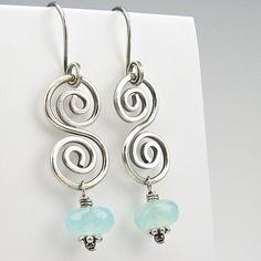 Chalcedony Earrings Boho Spiral Sterling Wirework