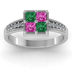 Vintage Princess Cut Ring with Shoulder Accents birthstone ring