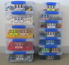 Lego Bins: This has been a biggie in our home. My sons Legos were everywhere and it was so hard to find that just right piece. So, we set to organizing and this is what we came up with. — Stephanie Whittle of Boy Mama Teacher Mama Organizing Labels, Toy Organization, Organising, Boy Boy, Cool Lego, Cool Toys, Awesome Lego, Legos, Deco Lego