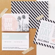 Blush and mint mix faultlessly with modern graphic black and white stripes in this inspiration board. (Pic via Hey Look)
