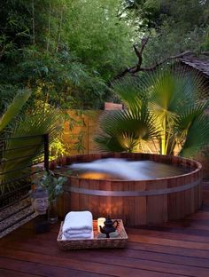 Putting a jacuzzi outdoors and discovering a great view will assist you unwind and develop an inner peace which is the most crucial for you. ideas with hot tub Outdoor Jacuzzi Ideas: Designs, Pros, and Cons [A Complete Guide] Outdoor Baths, Outdoor Spa, Outdoor Living, Outdoor Decor, Outdoor Ideas, Outdoor Privacy, Jacuzzi Design, Outdoor Swimming Pool, Swimming Pools