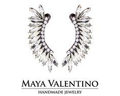 Climbing earrings Wing earrings Oxidezed silver by MayaValentino Prom Earrings, Prom Jewelry, Wing Earrings, Jewelry Model, Bridal Earrings, Statement Earrings, Jewellery, Custom Jewelry, Handmade Jewelry