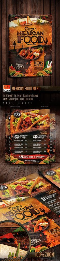 Mexican Food Menu Flyer Template PSD. Download here: http://graphicriver.net/item/mexican-food-menu/14885219?ref=ksioks