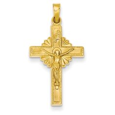 14k Two-tone Gold Polished and Textured INRI Crucifix Pendant