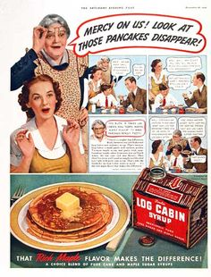 1938 Log Cabin Maple Syrup original vintage advertisement. Photo montage with illlustration in vibrant color. A product of General Foods.