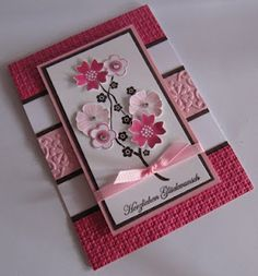 cards and projects by other talented stamping artists.Stampin' Up Card - nice layers and texturesStampin' Up Card!I was afraid to look up ideas for cards cause I knew there would Tarjetas Diy, Embossed Cards, Embossed Paper, Stamping Up Cards, Pretty Cards, Paper Cards, Cool Cards, Flower Cards, Greeting Cards Handmade