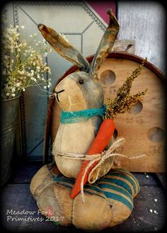 Primitive Folk Art Grey Bunny Rabbit Pinkeep-Spring, Easter, Vintage, Quilt Pinkeep, Farmhouse, Handcrafted, Hafair Team, FAAP by MeadowForkPrims on Etsy