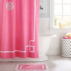 PB Teen Emma Ribbon Trim Shower Curtain, Bright Pink at Pottery Barn... ($47) ❤ liked on Polyvore featuring home, bed & bath, bath, shower curtains and pbteen