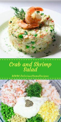 Crab and Shrimp Salad - Delicious Home Recipes Shrimp And Crab Salad, Shrimp Salad Recipes, Seafood Salad, Crab Recipes, Seafood Dishes, Crab Salad Recipe Healthy, Lobster Salad, Seafood Platter, Healthy Breakfast Recipes