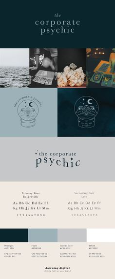 Brand board and guidelines for a spiritual coach offering tarot readings, akashic record readings and coaching to find your why. The brand colors feature shades of blue and navy, a textured background, and the logo features a crystal ball logo with hands, an eye, moons and the stars.