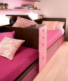 Twin Pink Sofa Bed With Functional Divider Storage. my future daughters home Girls Bedroom, Modern Kids Bedroom, Girl Room, Bedroom Decor, Bedroom Ideas, Child Room, Bedroom Fun, Childrens Bedroom, Bedroom Sofa