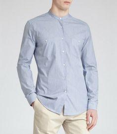 shirt without collar modern men's fashion