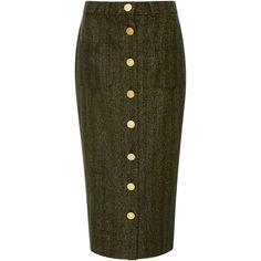 Maison Père Herringbone Lurex Pencil Skirt ($495) ❤ liked on Polyvore featuring skirts, metallic, high-waisted pencil skirts, pencil skirts, high-waist skirt, high rise skirts and high waist skirt
