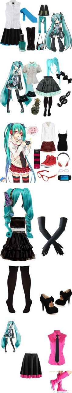"""Miku Hatsune Cosplay Casually"" by kkatterrinna ❤ liked on Polyvore"