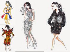 jeremy scott fashion sketches for Katy Perry super bowl 2015 performance