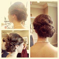 Wedding bridal hairstyle updo bridesmaid soft romantic hair . Hair by Www.wendyzarate.com