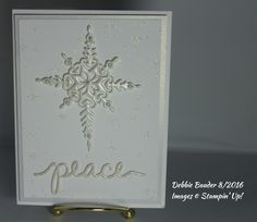 C & H F 2016.   SU Starlight Thinlits, Peace sentiment from SU Chtistmas Greetings die set, Thick White and Shimmer White card stock, Memory Box stencil, Bo Bunny Sugar Glitter Paste, Versamark, White Satin Pearl EP, pearls and foam. Inside sentiment : A Wish for you : Peace and Happiness at Christmas and throughout the New Year from Yuletide Wishes by Penny Black.