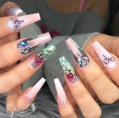 pink coffin nails with glitter and crystals
