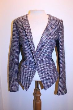 Mossimo Coat S Pink Multicolor Tweed Blend Black Panel Casual Blazer Jacket #Mossimo #Blazer